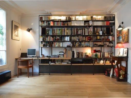 Bibliothèque bois acier Work&Read sur-mesures